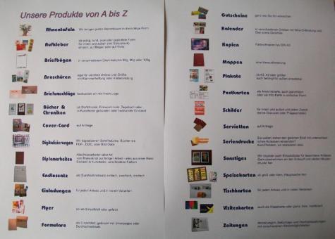 Druckerzeugnisse von A bis Z