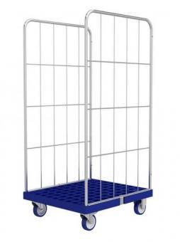 2 (3) - seitige Rollcontainer (Gittercontainer) mit robustem Kunststoffboden für Wäschelogistik.