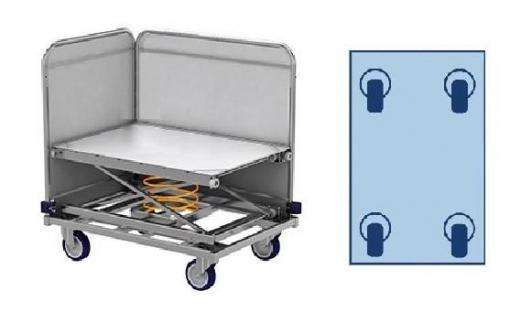 Federbodenwagen, Wäschewagen (Transportwagen) für Wäschelogistik. 275 Liter, 41 kg. Modell ML 8661-0.9