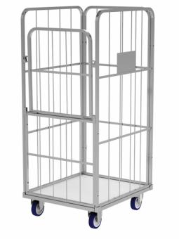 Rollcontainer (Gittercontainer) mit klappbare Tür und feste Wand für Wäschelogistik. (Wäschereien, Krankenhäusern, Hotels u.a.)