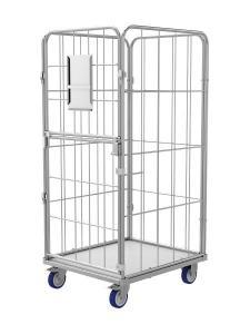 Gitter Rollcontainer mit klappbare (oben) und drehende (unten) Türen für Wäschelogistik. Modell R