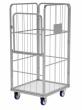 Rollcontainer (Gittercontainer) mit klappbare Tür und feste Wand für Wäschelogistik. (Wäschereie