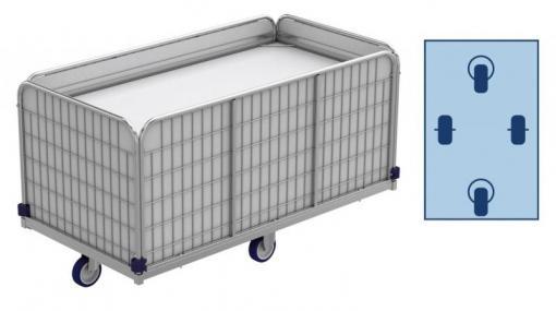 Federbodenwagen, Wäschewagen (Transportwagen) für Wäschelogistik. 420 Liter, 66 kg. Modell ML 14475-0,79. Galvanisiert.